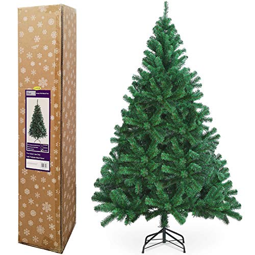 TrendMakers Classic Artificial Realistic Natural Branches Pine Christmas Tree Xmas Green-Unlit 4FT, 5FT, 6FT,7FT,7.5FT (6ft (180cm)) - w/Metal Stand