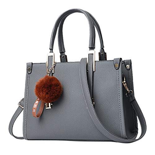 Lazzboy Handtasche Schultertasche Frauen Hairball Ornaments Tote Solide Pailletten Geldbörse Messenger (Grau)