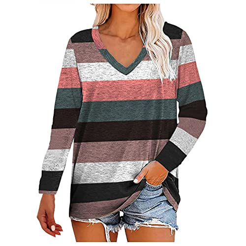 Bosanter Womens Tops Sexy V Neck, Long Sleeve Shirts for Teen Girls Workout Hoodies Pullover Aesthetic Sweatshirts