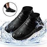Homestine Waterproof Shoe Cover, Reusable Silicone Non-Slip Rain&Snow Boot for Cycling, Camping, Gradening, Picnic and Daily Cleaning, Fit of Men, Women and Childs (Black, Large)