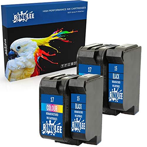 RINKLEE Remanufacturado para HP 15 17 XL Cartucho de Tinta Compatible con HP Deskjet 816c 825c 825cvr 825cxi 827 840c 841c 842c 843c 845c 845cse 845cvr 845cxi 848c | 2 Negro, 2 Tricolor