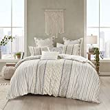 """INK+IVY 100% Cotton Duvet Mid Century Modern Design All Season Comforter Cover Bedding Set, Matching Shams, King/Cal King(104""""x92""""), Imani, Ivory Chenille Tufted Accent"""