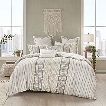 INK+IVY 100% Cotton Duvet Mid Century Modern Design All Season Comforter Cover Bedding Set Matching Shams King/Cal King  104 x92   Imani Ivory Chenille Tufted Accent