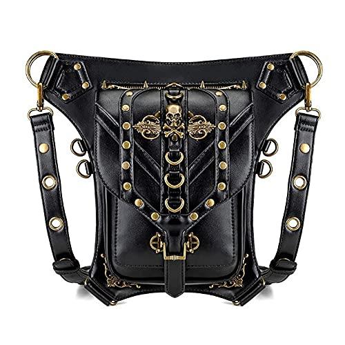 LTCTL Uomo Donna Marsupio PU Leather Multi-Purpose Tactical Drop Leg Arm Bag Steampunk Bag Pack Cintura Hip Portafoglio Borsa Pouch Bag nera