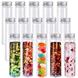 15 Pack 115ml Plastic Test Tube,Clear Flat Test Tubes,Plastic Test Tubes with Screw Caps for Candy,Beans,Bath Salt,Party Decor