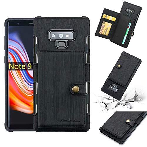 Funda tipo cartera de piel sintética cepillada, con ranuras para tarjetas y ranuras para tarjetas, duradera, a prueba de golpes, compatible con Samsung Galaxy Note 9. (Color: Negro)