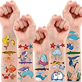 Partywind 200 PCS Ocean Theme Temporary Tattoos for Kids, Beach Pool Under The Sea Decorations Birthday Party Supplies Favors, Fake Tattoos With Mermaid Shark Tropical Fish Whale for Boys and Girls - 12 Sheets