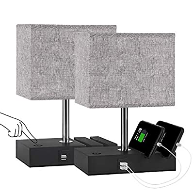 Set of USB Touch Table Lamp with Steplessly-Dimmable Function, Aooshine Dual USB Small Bedside Lamp with Two Slots, Including G45-E26-2700K Low Voltage Bulb, Suitable for Bedroom, Living Room