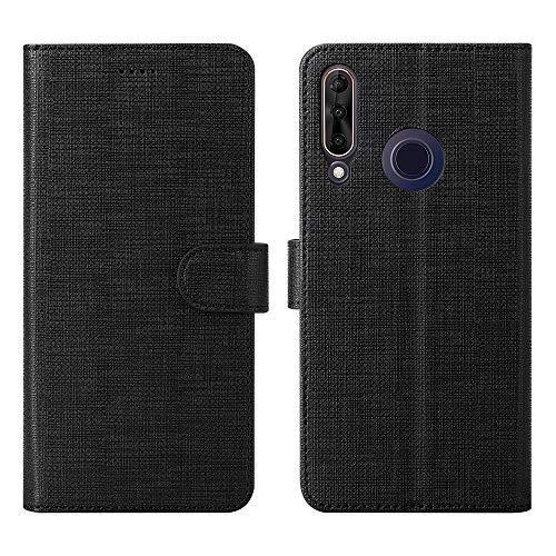 Foluu Wiko View 3 Pro Hülle, Wiko View 3 Pro Brieftaschen-Schutzhülle mit Kartenschlitz starker Magnetverschluss Klapphülle weiches TPU stoßfest für Wiko View 3 Pro 2019 Phone (Schwarz)