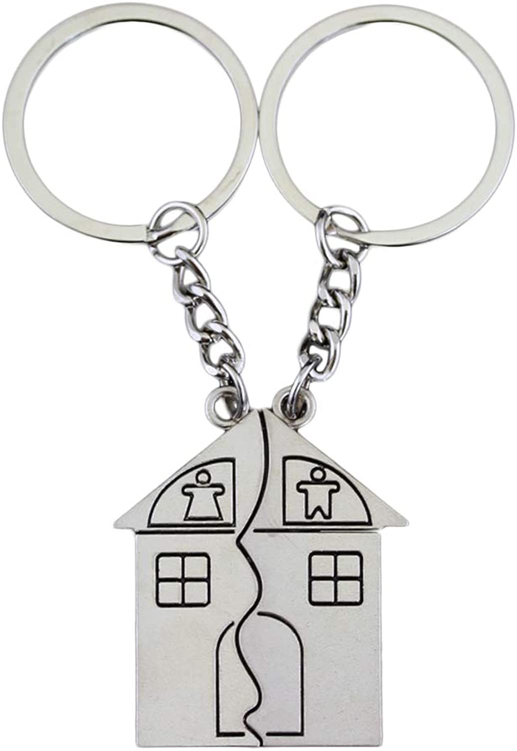 Vosarea 2PCS Couple House Keychains Set Alloy Plating Personality Creative Key Rings Jewelry Decor Gift for Men and Women