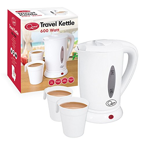 Quest 35440 Compact Travel Kettle / 0.5 litres / 600 Watt / Dual Voltage / Indicator Light / Includes 2 Cups / White