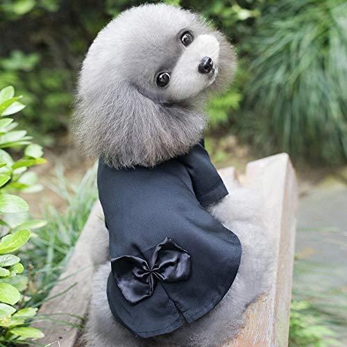 ZHAOHEMAOYI Haustier-Welpen-Hundekatze Hemd Mantel-Kleidung Ho Sommer-dünne Teddy-Katze-Welpen Brautkleid Anzug Kleidung, Größe: S (Schwarz) zart und schön Hundekleidung (Color : Color1)