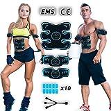 Lacroo Electrostimulateur Musculaire EMS, Ceinture Abdominale Electrostimulation Rechargeable pour Femme Homme, Stimulateur...