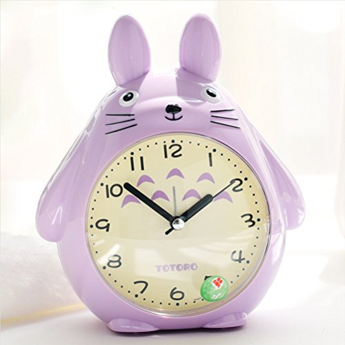 Marcus R Caveggf Totoro Quartz Wecker Pet Elf LED Leuchtet Kleine Alarm Clock, Purple