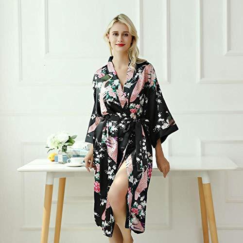 CDDKJDS Lady Sexy Disfraces Kimono Yukata Vestido con Cinturón Satén Seda Cardigan Pijamas Pajamas Ropa De Dormir Mujer Bañado Liso Bata Bata (Color : Black, Size : S)