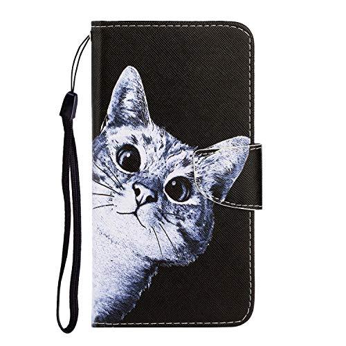 Nadoli Galaxy J6 Plus Hülle,Neugierig Katze Muster PU Leder Magnetisch Flip Brieftasche mit Handschlaufe Kartenslot Ständer Klapphülle für Samsung Galaxy J6 Plus