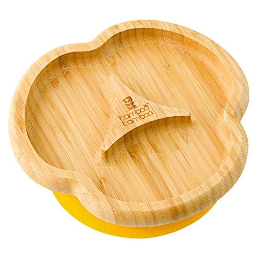 Baby Saugnapf-Teller, Standfeste Saug-Fütter-Teller, aus naturbelassenem Bambus