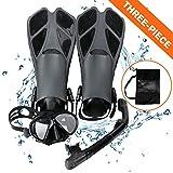 Kits de Plongée, Masque de Plongée + Tuba Semi-Sec + Palmes + Sac, Kits de Randonnée Aquatique Set de Snorkeling pour Adultes et Adolescents (Black, ML/XL)