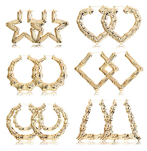 Finrezio 6 Pairs Large Bamboo Hoop Earrings Set Gold Plated Statement Hip-Hop Earrings for Women Girls Gold