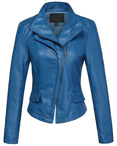 chouyatou Women's Stylish Oblique Zip Slim Faux Leather Biker Outerwear Jacket (Small, Blue)