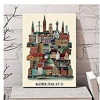 コペンハーゲンデンマーク市旅行風景油絵ポスタープリントキャンバス壁の写真ホームルームの装飾40x60cmフレームなし