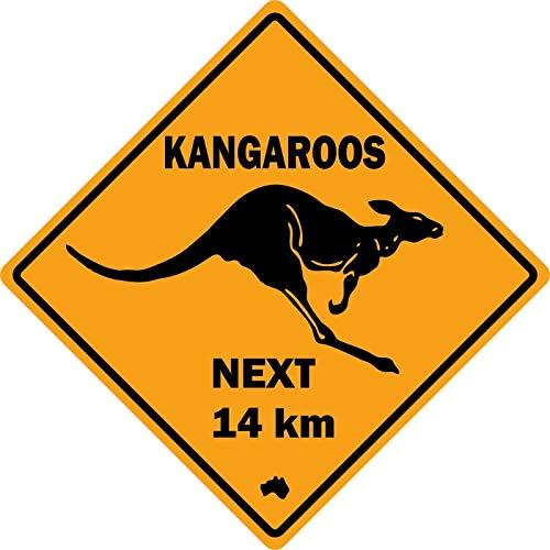 YelenaSign 30,5 x 30,5 cm Metallschild Auto Straßenschild Australien Kangaroo Next Plate Warnschild