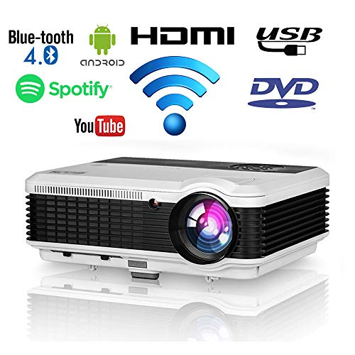 EUG 4600 Lumen Wxga HD LED Android Smart Home Theater Projector with WiFi Bluetooth 1080P Support Airplay Miracast Wireless HDMI Digital Multimedia Indoor Outdoor LCD Video Projector