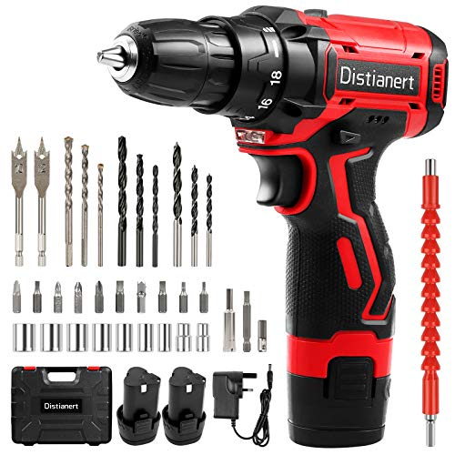 Distianert Cordless Drill Driver 12V, 34Pcs Combi Drill Set with 2 Batteries, 18+1 Torque Setting, 3/8' Chuck, 30Nm Max, Electric Screwdriver with 2-Speed, LED Light for DIY, Concrete ,Wood Wall