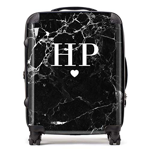 Personalised Black & White Marble Initials & Heart Monogram Suitcase with TSA Lock 4 Spinner Wheels Large Expandable Luggage 78cm 95Ltr