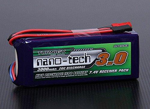 Turnigy nano-tech - Batteria Lipo da 3000 mAh, 2S 20-40 C, per ricevitore T-Rex 600 700 800 e molti altri modelli Eibl