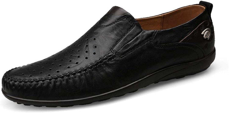 EGS-schuhe Driving Loafer für Mnner Mokassins Slip On Stil Business Boat OX Leder Runde Zehe Hohl Vamp,Grille Schuhe (Farbe   Schwarz, Gre   46 EU)