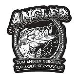 Aufkleber Angler Zum Angeln geboren zur Arbeit gezwungen (Wetterfest)