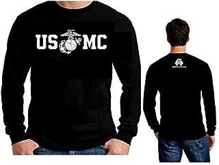 Lucky Ride Marine Corps Bull Dog Front and Back USMC Men's T-Shirt Longsleeve
