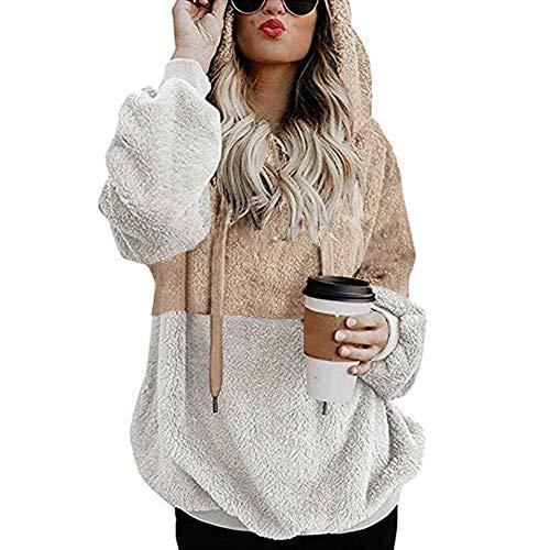 Oyria sudadera con capucha de forro polar suave con bolsillos y cordón para mujer, albaricoque, Medium