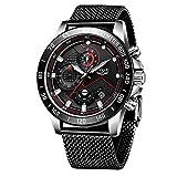 LIGE Relojes para Hombre Cronógrafo Impermeable Moda Negro Cuarzo Reloj de Pulsera Negocio Acero Inoxidable Reloj