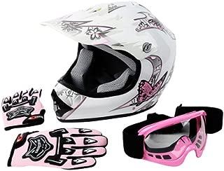 TCMT DOT Certified Youth Pink Butterfly Dirt Bike ATV Helmet Goggles Gloves (M)