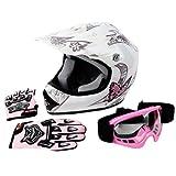 TCMT DOT Certified Youth Pink Butterfly Dirt Bike ATV Offroad Street Motorcycle Motocross Helmet Goggles Gloves (M)
