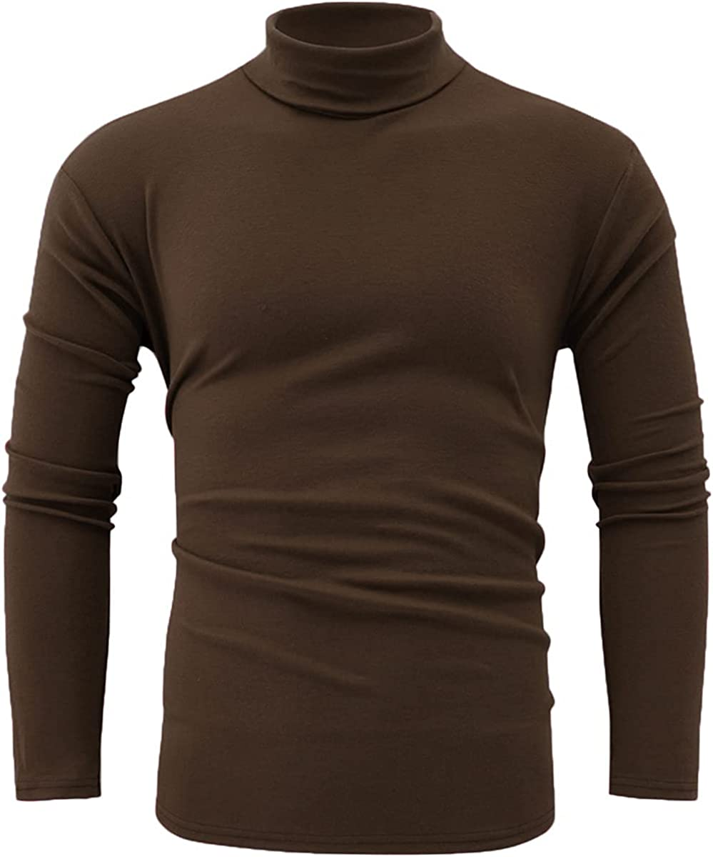 jonivey Mens Basic Turtleneck Knitted Long Sleeve Solid CasualT-Shirt Pullover Tops