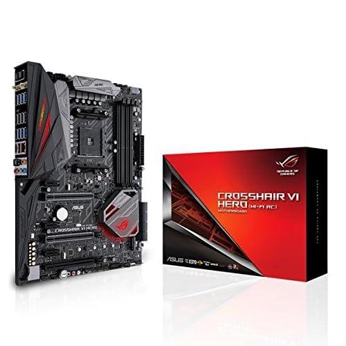 ASUS ROG Crosshair VI Hero (WI-FI AC) AMD X370 Socket AM4 ATX Carte mère - Cartes mères (DDR4-SDRAM, DIMM, 2133,2400,2666,3200 MHz, Dual, 64 Go, AMD)