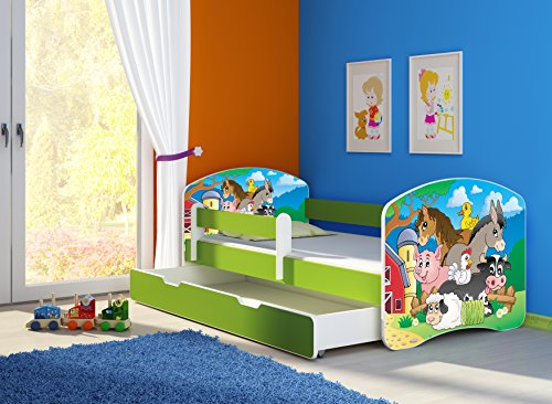 Clamaro 'Fantasia Grün' 140 x 70 Kinderbett Set inkl. Matratze, Lattenrost und mit Bettkasten Schublade, mit verstellbarem Rausfallschutz und Kantenschutzleisten, Design: 34 Kleine Farm