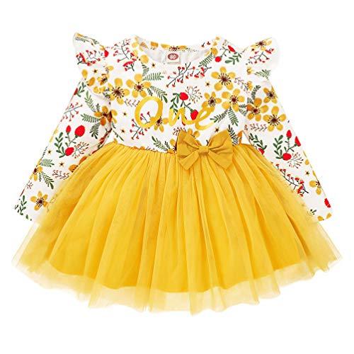 Amosfun Infantil Tutu Vestido Bowknot Menina One Piece- Vestido de Tule Menina Floral Impresso Saia Vestido Desempenho Crianças (Amarelo 80CM)