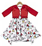 Fashion Dream Baby Girl's Fit and Flared Shrug Style Midi Dress/Frock(RED_3-4)