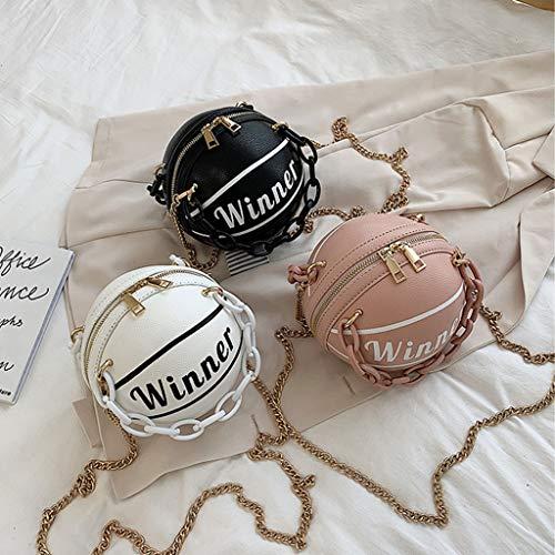 UYT Women's Basketball Round PU Leather Fashion Exquisite One Shoulder Messenger Bag Handbag Chain One Shoulder Messenger Bag