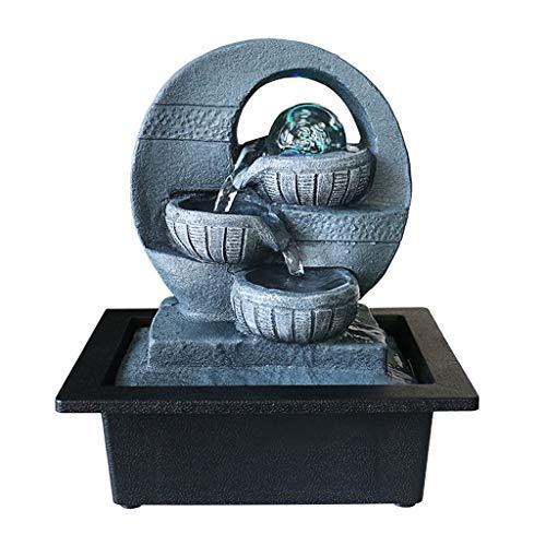 Indoor Tabletop Fountain De interior y al aire libre Feng Shui Fuente Pequeño Relajación Cascada de 3 capas pequeña fuente de agua con la bola del LED en la parte superior de la oficina, decoración de