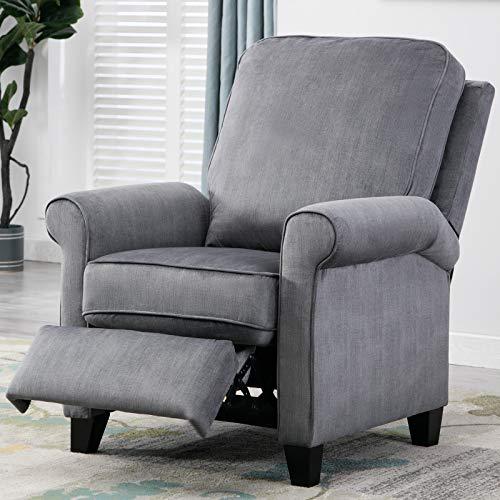 ANJ Roll Arm Push Recliner Pushback Chair, Slate Gray