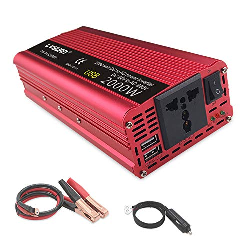 Roboraty Inversor De Corriente De 2000 W 1 Tomacorrientes De Ca Y 2 Puertos De Carga USB DC 12 V / 24 V A 220 V AC,Convertidor del Inversor del Coche 12v / 24v, Adaptador del Coche,24Vto220V