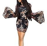 BOLAWOO Mujer Vestidos De Fiesta Cortos Elegantes Brillo Lentejuelas Vestido De Noche Fashion Transparentes Trompeta Manga Cuello Redondo Slim Bodycon Vestido Vestidos Coctel