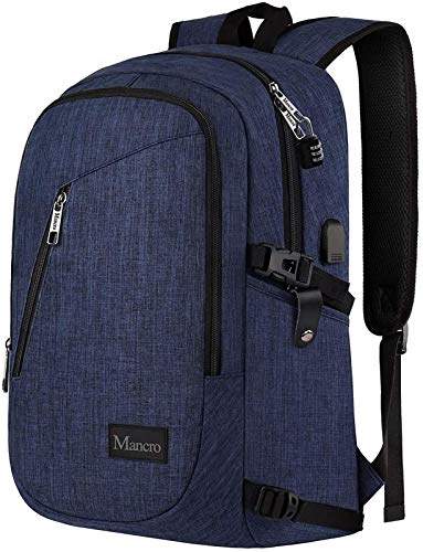 Mancro College Backpack, Business Slim Laptop Backpack, Mancro Anti-Theft Water Resistant Computer Backpack w/USB Charging Port, Lightweight Travel Bag Fit 15.6 Inch Laptops & Tablets in Dark Indigo