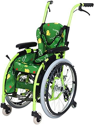 JFFFFWI Silla de Ruedas pediátrica Manual, Ligera y Plegable, pequeña Plegable portátil para discapacitados Trolley Trolley Silla de Ruedas Manual para niños
