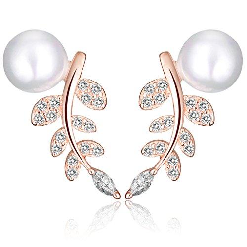 Yumilok - Pendientes de plata de ley 925 bañados en oro rosado con circonitas cúbicas y perlas para mujer, hipoalergénicos, diseño de hojas